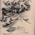Paul Markl, a German POW, was held at Camp Clark in Nevada, Missouri.  He made this sketch of camp life while at the branch camp in Orrick, Missouri, east of Kansas City.
